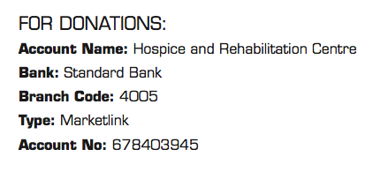 Hospice and Rehabilitation Centre Banking Details